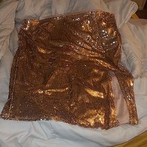 Sequin rose gold high slit skirt
